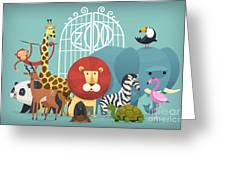Vector Illustration Card With Animals Greeting Card