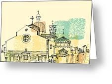 Vector Illustration Of Padua Cathedral Greeting Card