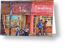Verdun Montreal Storefront Painting Jessie Et Cie Beaute Candy Nail Shop Hockey Artist C Spandau Art Greeting Card