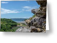 View From Pennard Castle Square Greeting Card