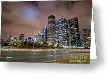 View Of Chicago Skyscrappers With Busy Street In The Foreground Greeting Card