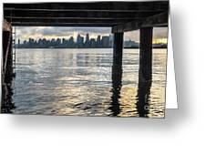 View Of Downtown Seattle At Sunset From Under A Pier Greeting Card