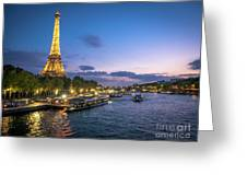 View Of The Eiffel Tower During Sunset From The Scene River Greeting Card