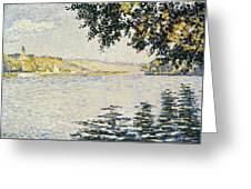 View Of The Seine At Herblay     Greeting Card
