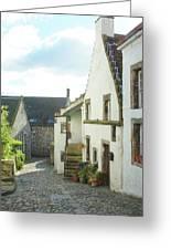 village cobbled lane in Culross Greeting Card