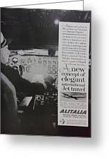 Vintage Alitalia Airline Advertisement Greeting Card