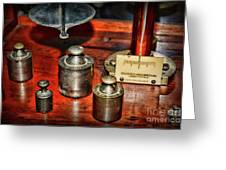 Vintage Apothecary Pharmacist Weights And Scale Greeting Card