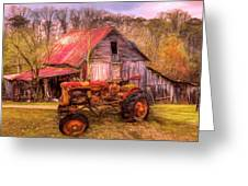 Vintage At The Farm Watercolors Painting Greeting Card