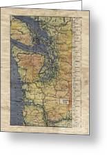 Vintage Auto Map Western Washington Olympic Peninsula Hand Painted Greeting Card