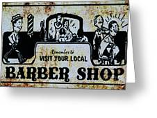 Vintage Barber Sign From The 1950s Greeting Card