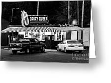 Vintage Dairy Queen At Night Greeting Card