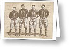 Vintage Football Heroes Greeting Card by Clint Hansen