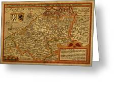 Vintage Map Of Belgium And Flanders Greeting Card