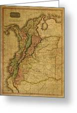 Vintage Map Of Columbia 1818 Greeting Card