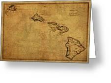 Vintage Map Of Hawaii 1837 Greeting Card