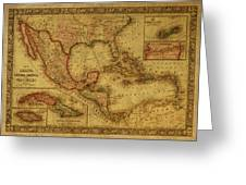 Vintage Map Of Mexico Greeting Card