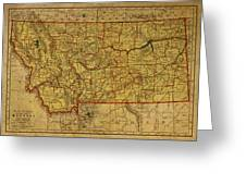 Vintage Map Of Montana Greeting Card