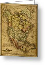 Vintage Map Of North America 1858 Greeting Card