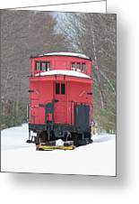 Vintage Red Caboose In Winter Greeting Card