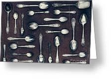 Vintage Set Of Dessert Spoons On A Dark Greeting Card