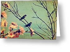 Vintage Spring Image With Swallows And Greeting Card