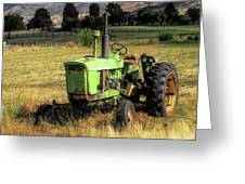 Vintage Tractor In Honeyville Greeting Card by David King