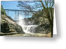 Vintage Train Trestle With Waterfalls Greeting Card