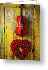 Violin And Heart Wreath Greeting Card