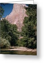 Virgin River And Cliff In Zion National Park, Utah - Utah300 00303 Greeting Card