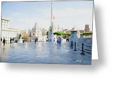 Vittorio Emanuele In Rain Greeting Card