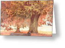 Waiting For You In Early Autumn Mists Greeting Card by Debra and Dave Vanderlaan