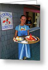 Waitress Serving Lobster  Greeting Card
