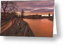 Walking Along The Seine At Sunset Greeting Card