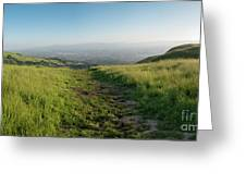 Walking Downhill Large Trail With Silicon Valley At The End Greeting Card