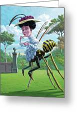 Wasp Woman Insect Drinking Tea Fantasy Greeting Card