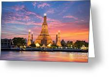Wat Arun Night View Temple In Bangkok Greeting Card