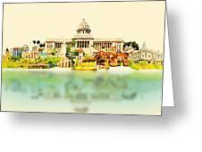 Water Color Vector Panoramic Cuba Greeting Card
