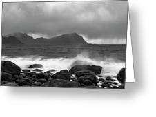 Water Hits The Coastline During Storm Greeting Card