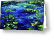 Water Lilies Story Impressionistic Impasto Palette Knife Oil Painting Mona Edulesco Greeting Card