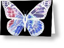 Watercolor Butterfly On Black V Greeting Card