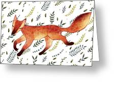 Watercolor Cute Running Fox With Green Greeting Card