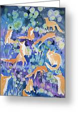 Watercolor - Fox And Firefly Design Greeting Card