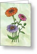 Watercolor Orange Pink Purple Zinnia Flowers Greeting Card