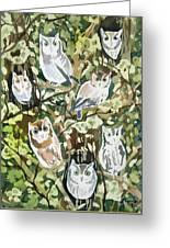 Watercolor - Screech Owl And Forest Design Greeting Card