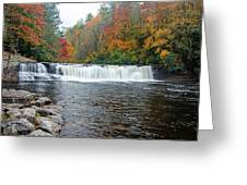 Waterfall In Autumn Greeting Card by Claire Turner