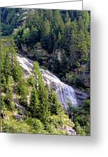 Waterfall In The Mountains. Greeting Card