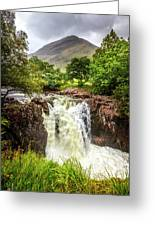 Waterfall Under The Mountain Greeting Card