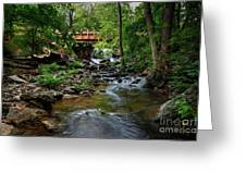 Waterfall With Wooden Bridge Greeting Card