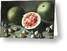 Watermelons And Figs On A Stone Ledge  Greeting Card