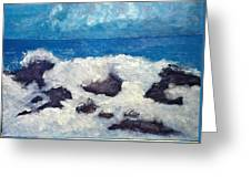 Wave Over Rocks Greeting Card